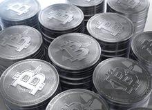 representación 3d de pilas de nuevo cryptocurrency de Bitcoins Imagen de archivo libre de regalías