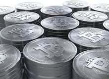 representación 3d de pilas de nuevo cryptocurrency de Bitcoins Imagenes de archivo