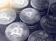 representación 3d de pilas de nuevo cryptocurrency de Bitcoins Imagen de archivo
