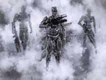 representación 3D de soldados mech futuristas en guerra stock de ilustración