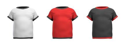 representación 3d de tres camisas formadas como torso masculino de la opinión trasera sobre un fondo blanco stock de ilustración