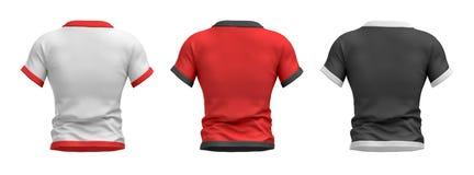 representación 3d de tres camisas formadas como torso masculino de la opinión trasera sobre un fondo blanco libre illustration