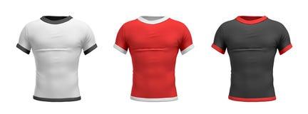 representación 3d de tres camisas formadas como torso masculino de la opinión trasera sobre un fondo blanco ilustración del vector