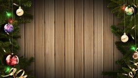 representación 3D de un bastidor festivo brillante de la Navidad en una tabla de madera rústica vieja para crear una atmósfera as ilustración del vector