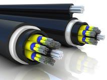 representación 3d de un cable óptico de la fibra Fotos de archivo