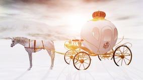 representación 3D de un carro del unicornio del invierno del cuento de hadas stock de ilustración
