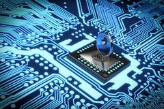 representación 3D de un circuito electrónico seguro fotografía de archivo