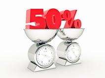 representación 3D de un descuento del 50 por ciento ilustración del vector