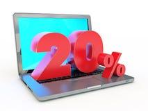 representación 3D de un descuento del 20 por ciento - ordenador portátil y descuentos en Internet Imagen de archivo libre de regalías