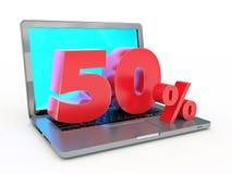 representación 3D de un descuento del 50 por ciento - ordenador portátil y descuentos en Internet libre illustration