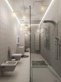 representación 3D de un diseño interior del cuarto de baño para los niños Foto de archivo libre de regalías