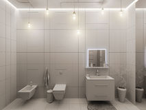 representación 3D de un diseño interior del cuarto de baño para los niños Imágenes de archivo libres de regalías