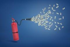 representación 3d de un extintor rojo con muchos billetes de dólar que vuelan de su manguera ilustración del vector