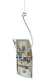 representación 3d de un gancho de pesca que cogió una cuenta de 100 USD en el fondo blanco Imagenes de archivo
