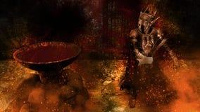 representación 3D de un guerrero en el fondo sangriento fotos de archivo