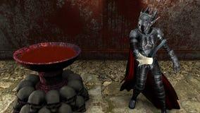representación 3D de un guerrero en el fondo sangriento libre illustration