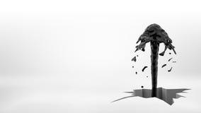 representación 3d de un jet negro de la fuente del aceite que sale a raudales de un agujero agrietado desigual grande en una supe Foto de archivo