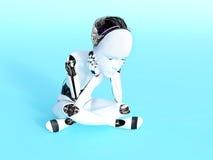 representación 3D de un pensamiento del niño del robot Fotografía de archivo