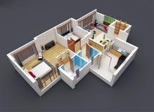 representación 3D de un plan de piso foto de archivo