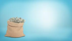 representación 3d de un saco marrón grande por completo de 100 billetes de dólar que se pegan de él en fondo azul stock de ilustración