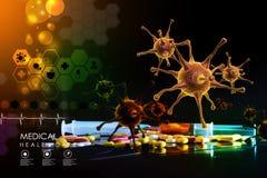 representación 3d de un virus stock de ilustración