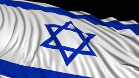 representación 3d de una bandera israelí La bandera se convierte suavemente en el viento