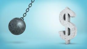 representación 3d de una bola arruinadora de balanceo grande al lado de la muestra concreta de USD Fotografía de archivo libre de regalías