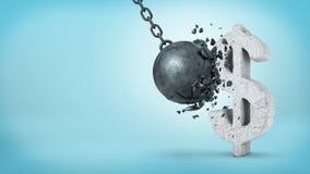 representación 3d de una bola arruinadora grande que golpea una muestra concreta de USD e incapaz de romperla en fondo azul Foto de archivo