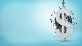 representación 3d de una bola arruinadora grande que golpea una muestra concreta de USD e incapaz de romperla en fondo azul Imágenes de archivo libres de regalías