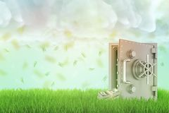 representación 3d de una caja fuerte abierta en un césped verde fresco con algunos paquetes del dinero al lado de él y de una llu foto de archivo