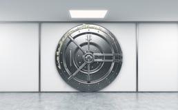representación 3D de una caja fuerte redonda bloqueada grande del metal en un deposito del banco Foto de archivo libre de regalías