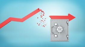 representación 3d de una flecha roja de la estadística con un indicador quebrado que ha caído para descansar sobre una caja grand libre illustration