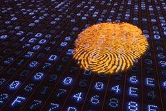 representación 3D de una huella dactilar anaranjada que brilla intensamente en un panel hexadecimal del LED Foto de archivo