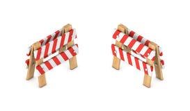 representación 3d de una muestra blanca y roja del galón del tráfico en un soporte de madera en la visión isométrica de doble car Fotografía de archivo