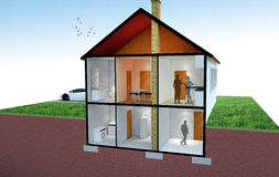 representación 3D de una sección de la casa imagen de archivo libre de regalías