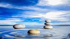 representación 3D de ZENES Stone de equilibrio en agua Imagen de archivo
