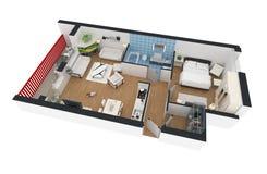 representación 3d del apartamento casero equipado Fotografía de archivo libre de regalías