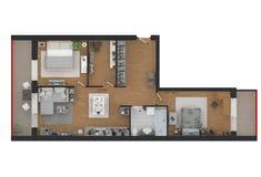 representación 3d del apartamento casero equipado Foto de archivo libre de regalías