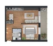representación 3d del apartamento casero equipado Imagenes de archivo