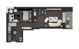representación 3d del apartamento casero equipado Imagen de archivo