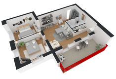 representación 3d del apartamento casero equipado Fotos de archivo libres de regalías