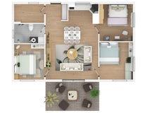representación 3d del apartamento casero equipado Foto de archivo