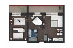 representación 3d del apartamento casero equipado Fotografía de archivo