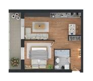 representación 3d del apartamento casero equipado Fotos de archivo