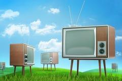 representación 3d del campo verde con muchas televisiones viejas debajo del cielo azul hermoso ilustración del vector