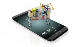 representación 3D del carro del supermercado en la pantalla del smartphone Fotografía de archivo libre de regalías