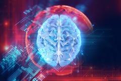 representación 3d del cerebro humano en fondo de la tecnología libre illustration