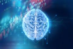 representación 3d del cerebro humano en fondo de la tecnología stock de ilustración