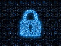representación 3D del concepto abstracto de seguridad global de Internet Cerradura de cojín de Digitaces creada por la placa de c stock de ilustración