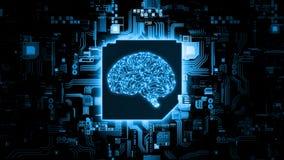 representaci?n 3D del concepto de hardware de la inteligencia artificial Circuito azul del cerebro que brilla intensamente en el  fotografía de archivo